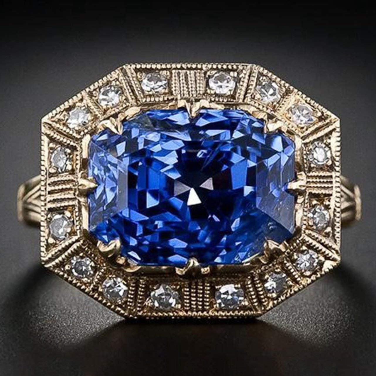 htrdjhrjy Útil Antiguo Joyería Arte Natural Zafiro Azul&Diamante Anillo con Piedra Preciosa Novia Boda Compromiso Anillo Joyería