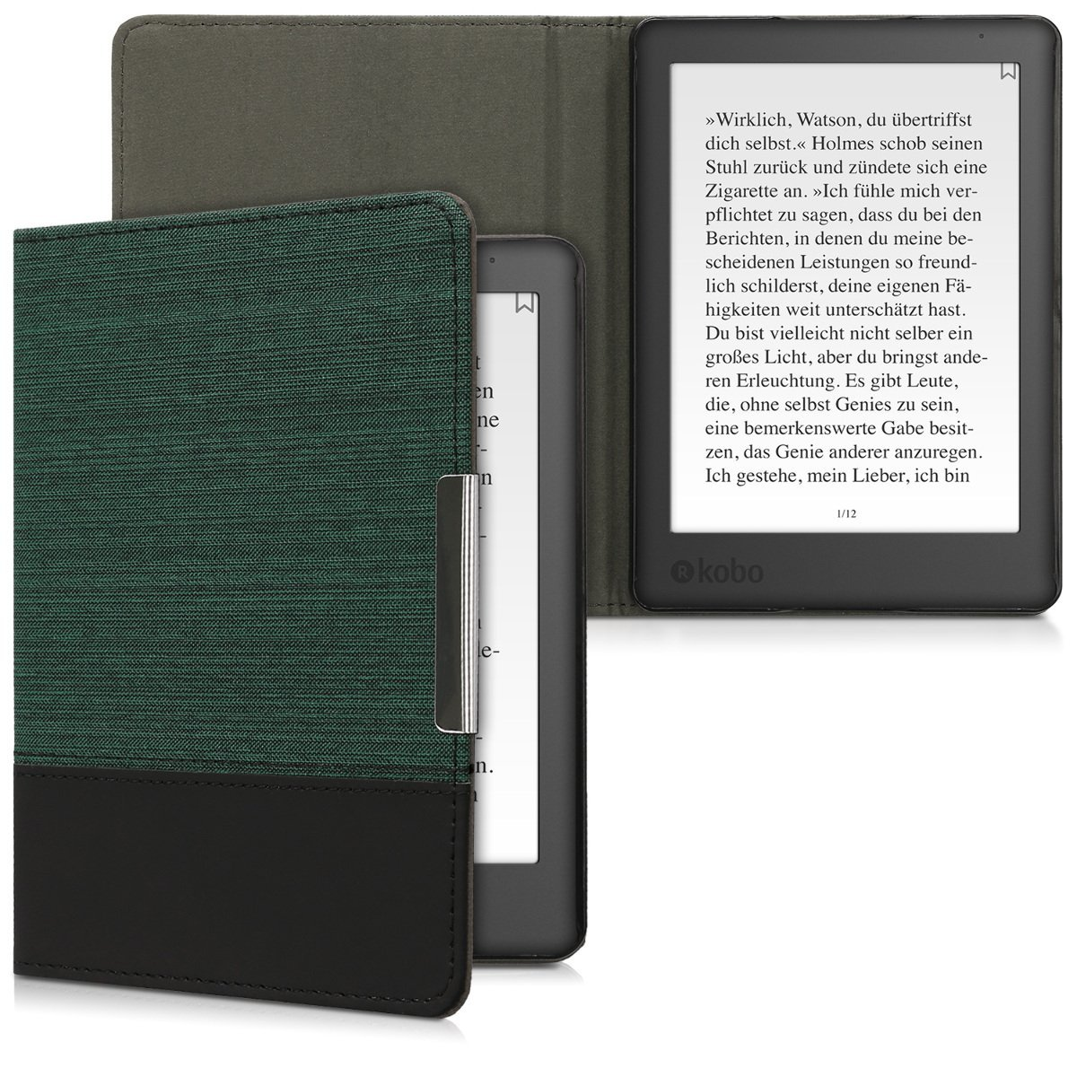 kwmobile Case for Kobo Aura Edition 2 - PU Leather and Canvas Protective e-Reader Cover Folio Case - green black