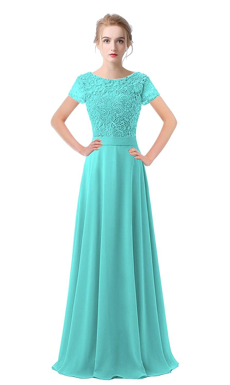 Sky bluee VaniaDress Women Lace Short Sleeves Long Evening Dress Prom Gown V061LF