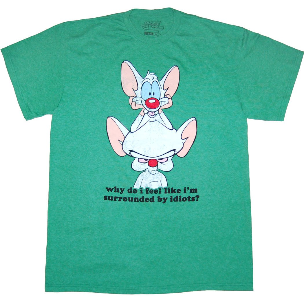 Mighty Fine Pinky and the Brain Surrounded by Idiots T-Shirt-XX-Large