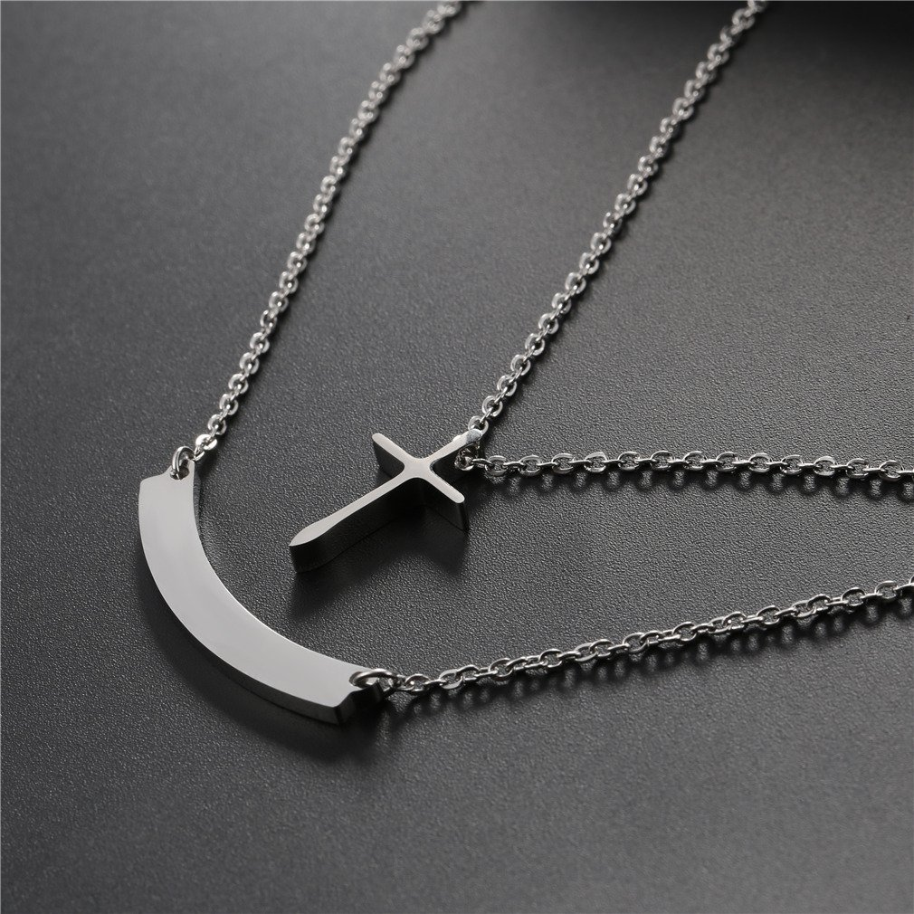 U7 Personalized Bar Necklace Free Message Engrave Stainless Steel 18K Gold Plated Horizontal//Vertical Bar Pendant Clavicle Choker Necklaces for Women Girls