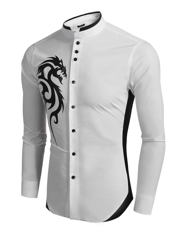 Coofandy Mens Casual Long Sleeve Patchwork Stand Collar Slim Dragon Print Shirt