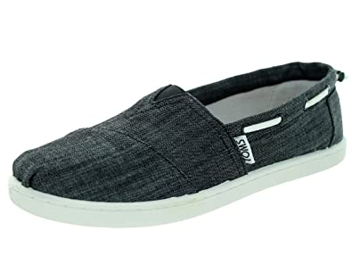 Toms - Unisex-Child Slip-On Shoes In Black Chambray, Size: 12