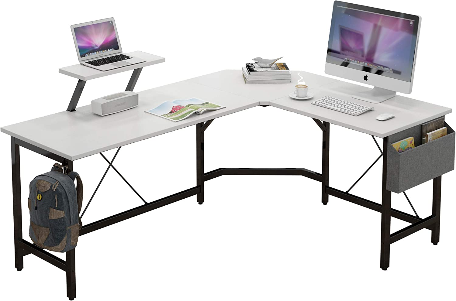 L Shaped Corner Desk 59 inches Computer Desk with Monitor Stand Home Office Desk with Storage Bag and Iron Hook (White)