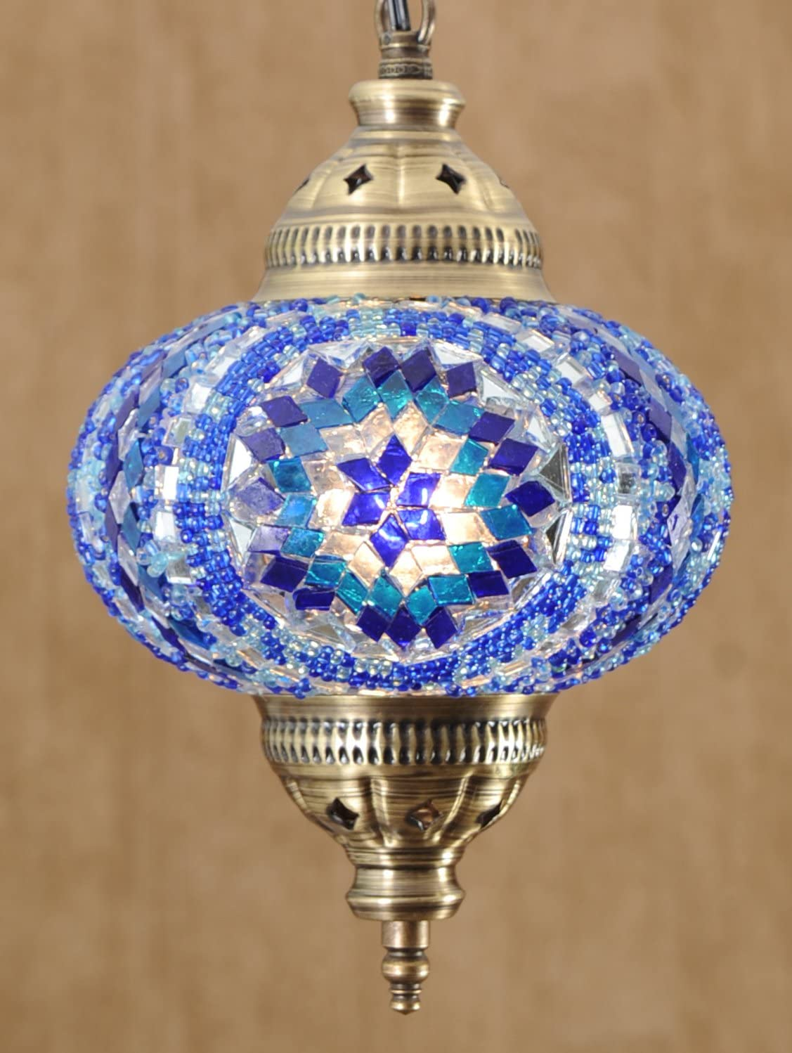 Turkish Moroccan Mosaic Glass Handmade Ceiling Pendant Fixture Hanging Lamp Light,7 Ocean
