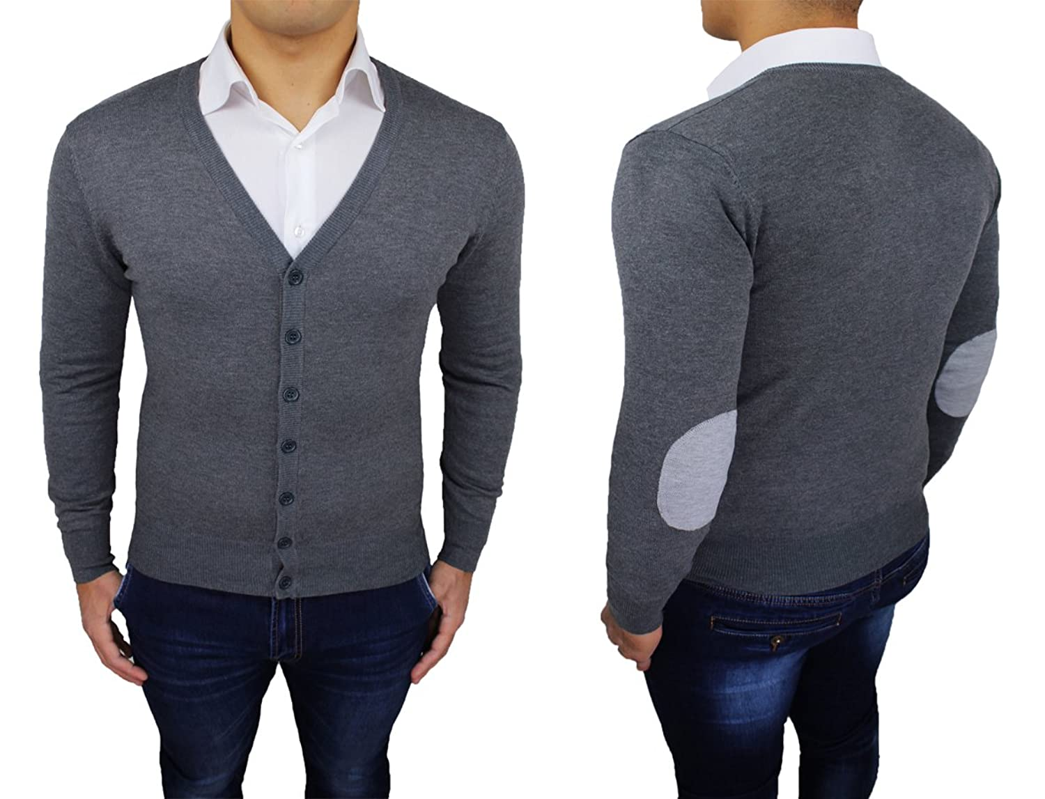 AK collezioni Men's Cardigan grey dark grey Small