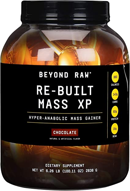Amazon.com: Beyond Raw Re-Built Mass XP Hyper-Anabolic Mass Gainer Protein Powder | Chocolate | 11 Servings | 880 Calories, 60g Protein, 140g Carbs with Creatine and BCAA: Health & Personal Care
