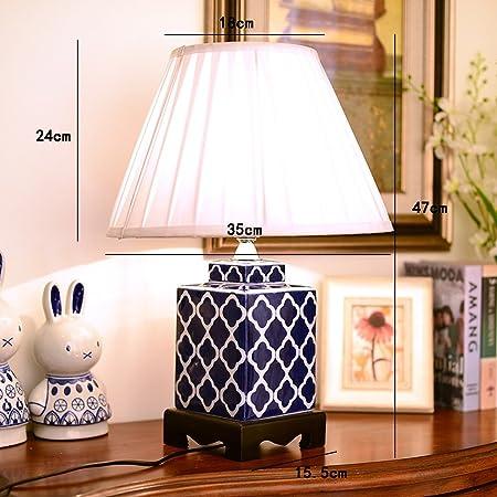 CCJW Lámpara de Mesa Grande de cerámica Azul, lámpara de ...