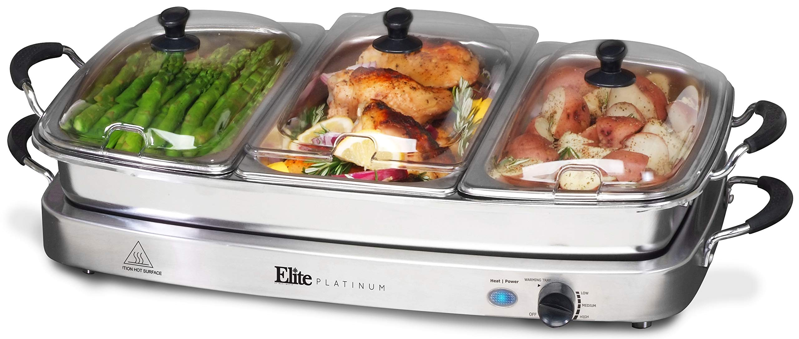 Elite Platinum EWM-9933 Deluxe Triple Buffet Server Food Warmer Party Tray, Oven-Safe Pan, Gravy & Holiday Essentials, 3 x 2.5Qt, Stainless Steel by Maxi-Matic