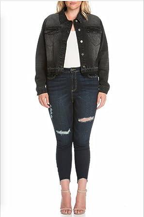 7d6d748f095 Cello Plus Size Black Cropped Denim Jacket at Amazon Women s Coats Shop