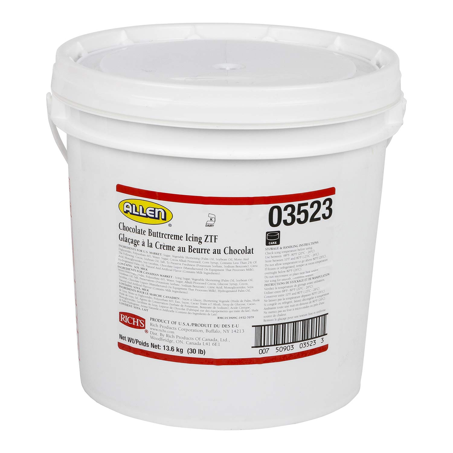 Rich's JW Allen Pre-Whipped Chocolate Buttrcreme Icing ZTF, 30 lb by Rich's