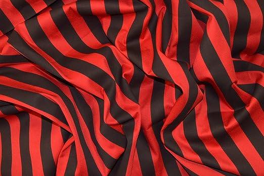 Brunswick Mills Beetlejuice Rojo y Negro 1 Pulgada de Rayas Tejido elástico algodón Elastano de Sarga Material: Amazon.es: Hogar