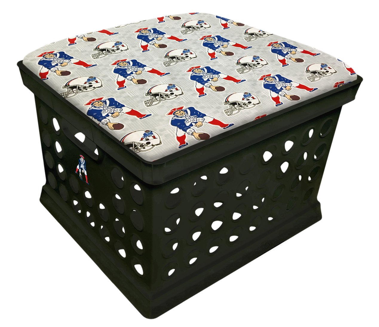 Black Utility Crate Storage Container Ottoman Bench Stool for Office/Home/School/Preschools with Your Choice of a Football Team Seat Cushion, Decal and a Free Flashlight! (Patriots Guard-Guard)
