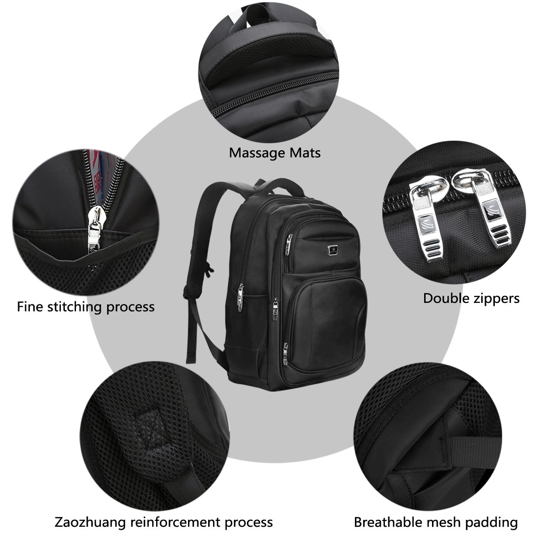 Laptop Backpack, Water-resistent Business Loop Backpack, 15.6 Inch Backpack by ShangYu (Image #5)