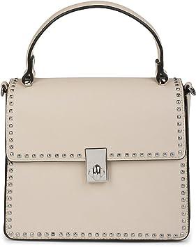 styleBREAKER bolso de asa estilo cartera con remaches en forma de pirámides, bolso de mano, bolso, señora 02012216, Color Beige: Amazon.es: Equipaje