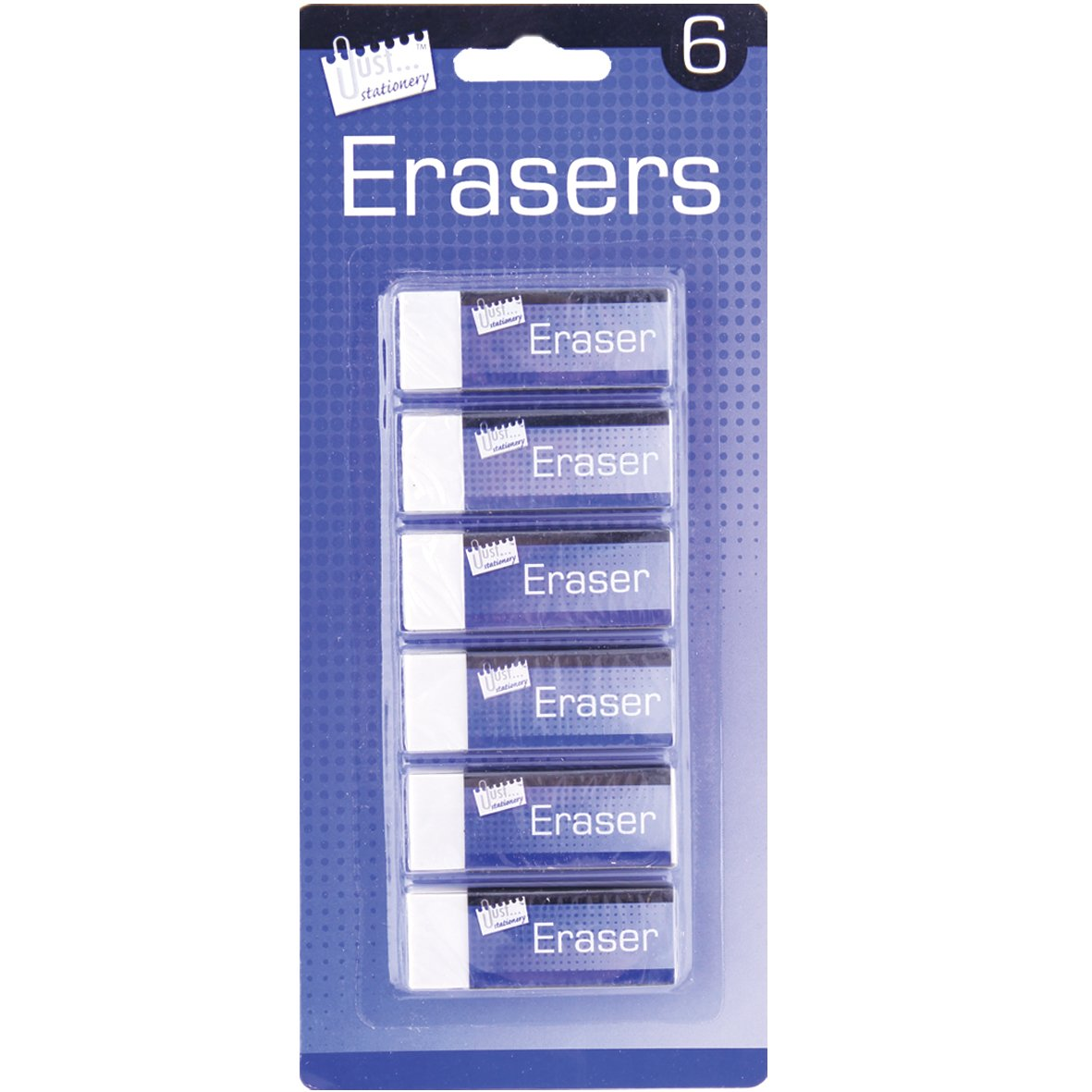 Just Stationery Eraser White Pack of 6