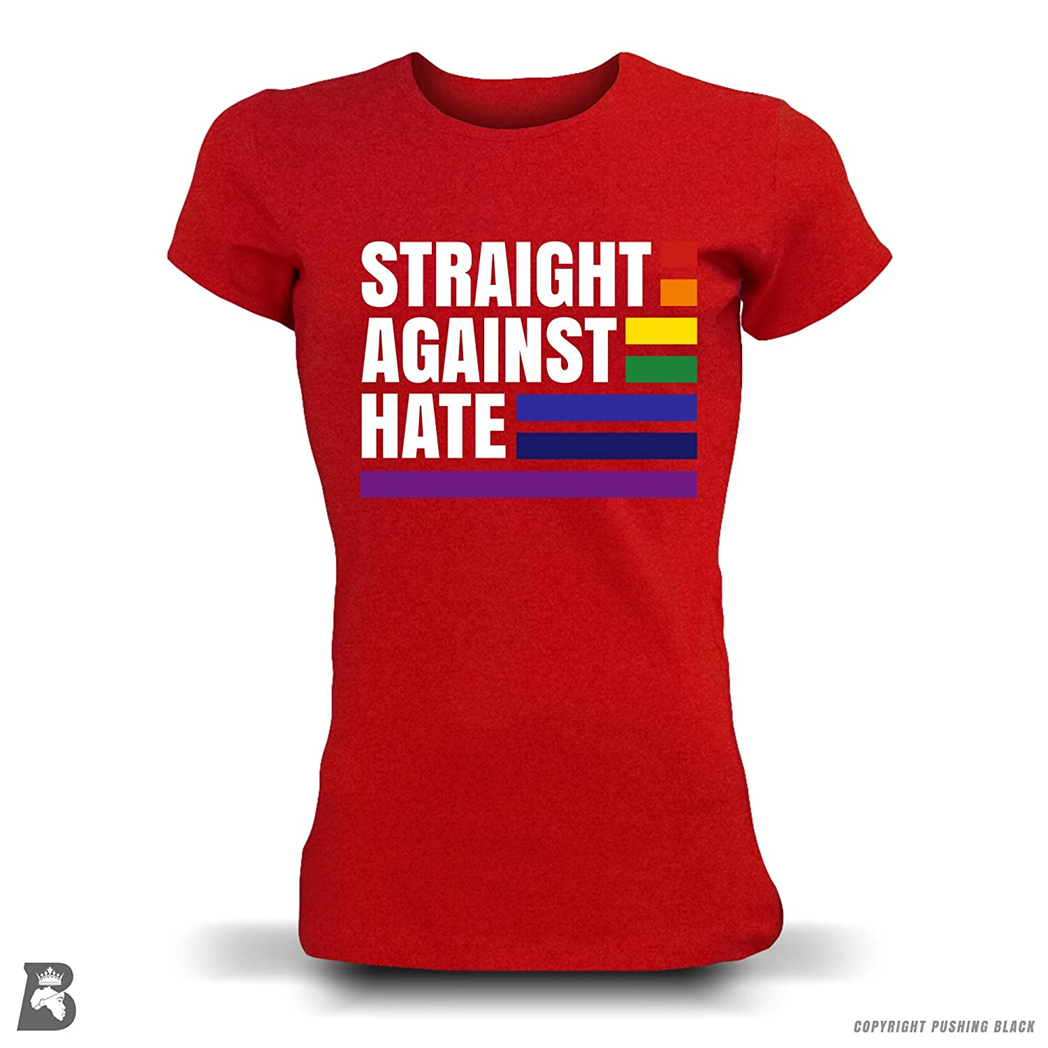 and More Kitchen Aprons Hoodies Sweatshirts Tank Tops Pushing Black Straight Against Hate Gay Pride Month T-Shirts