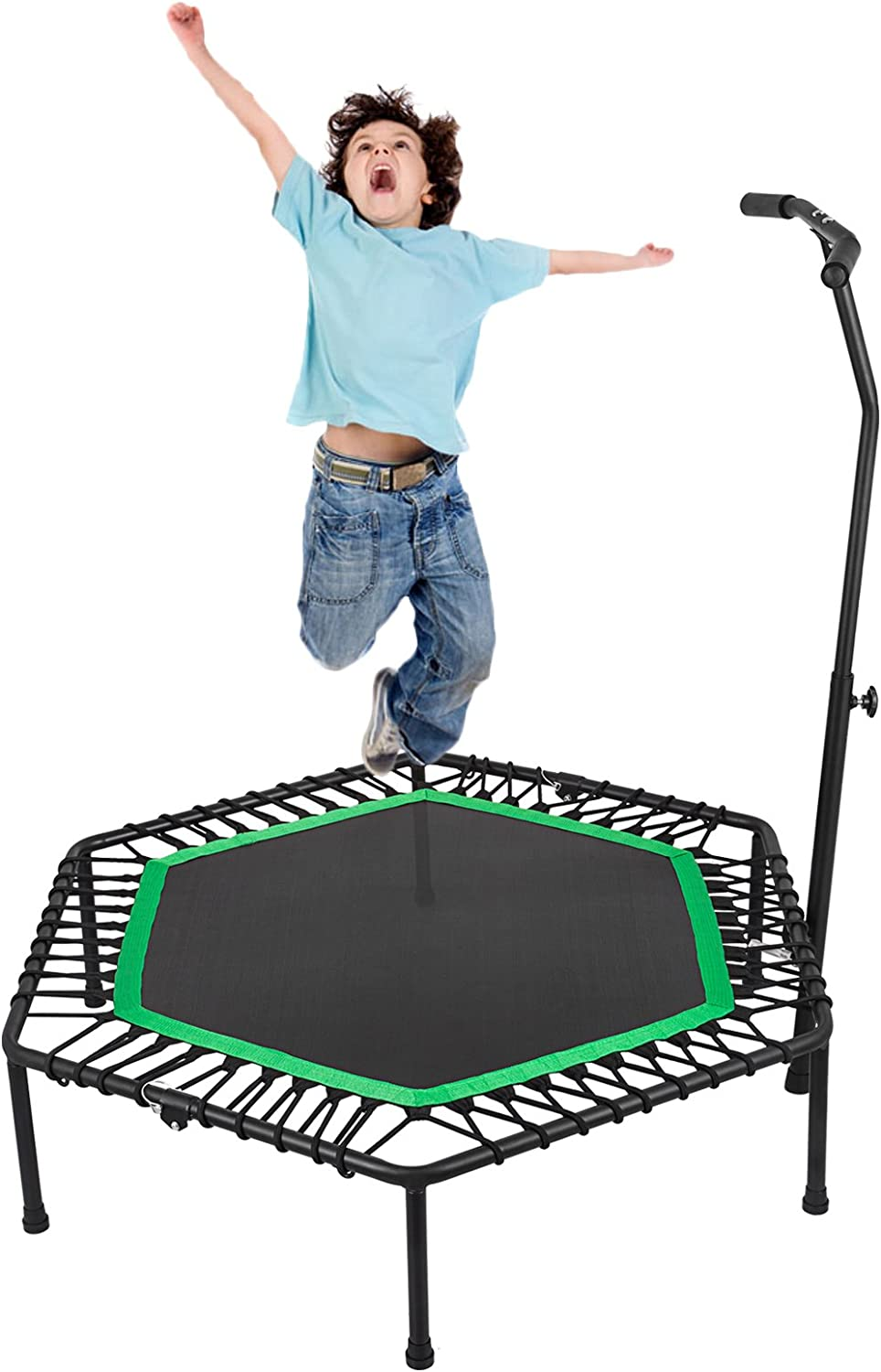 Popsport 36 40 50.4 inch Mini Trampoline 220 330 lbs Fitness Trampoline in-Home Single Double Easy Installion and Storage Rebounder with Bungee Cover and Rubber Bungees for Home Cardio Exercise
