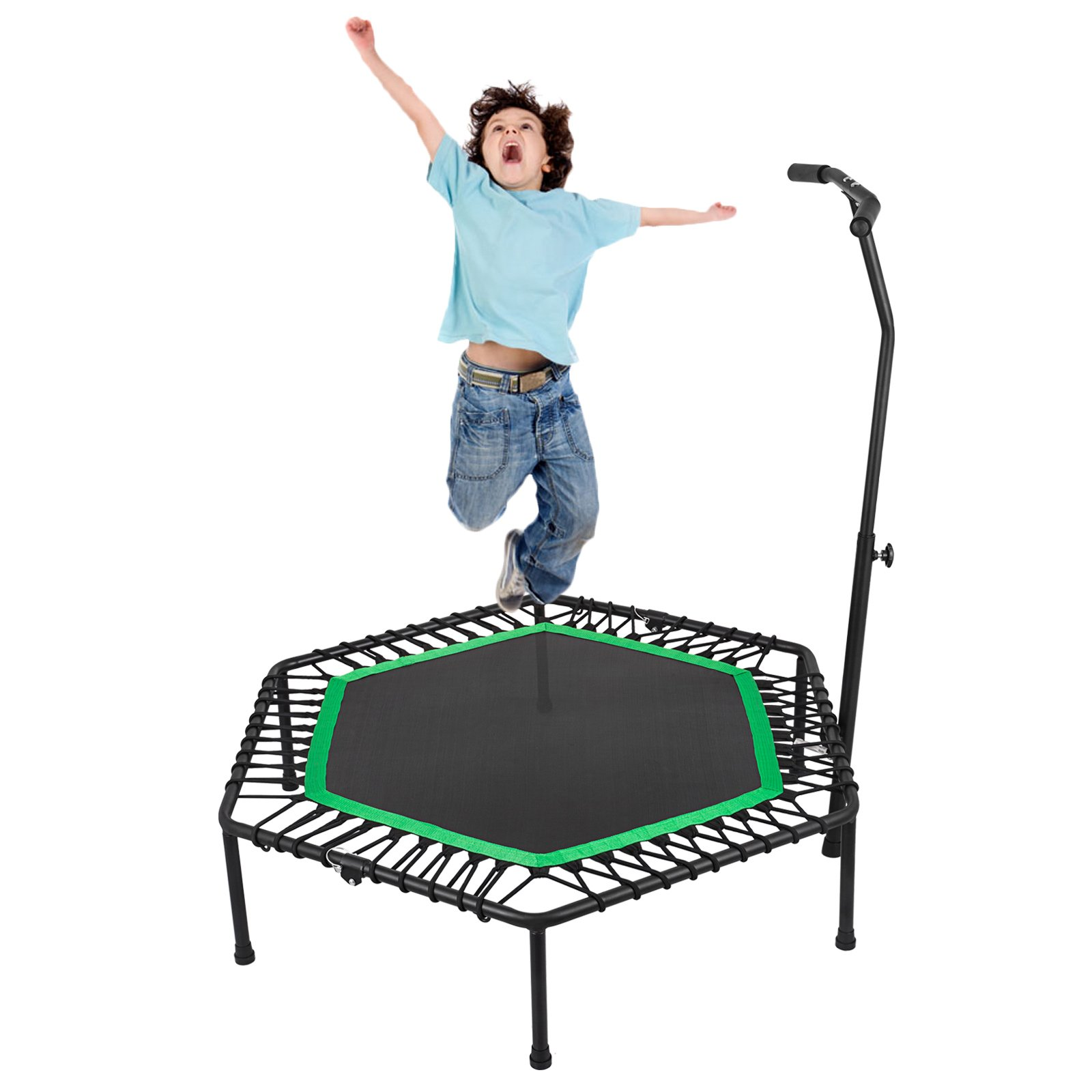 Popsport Mini Trampoline 220/330 lbs Fitness Trampoline in-HomeRebounder with Bungee Cover and Rubber Bungees for Home Cardio Exercise (50.4Inch Green)