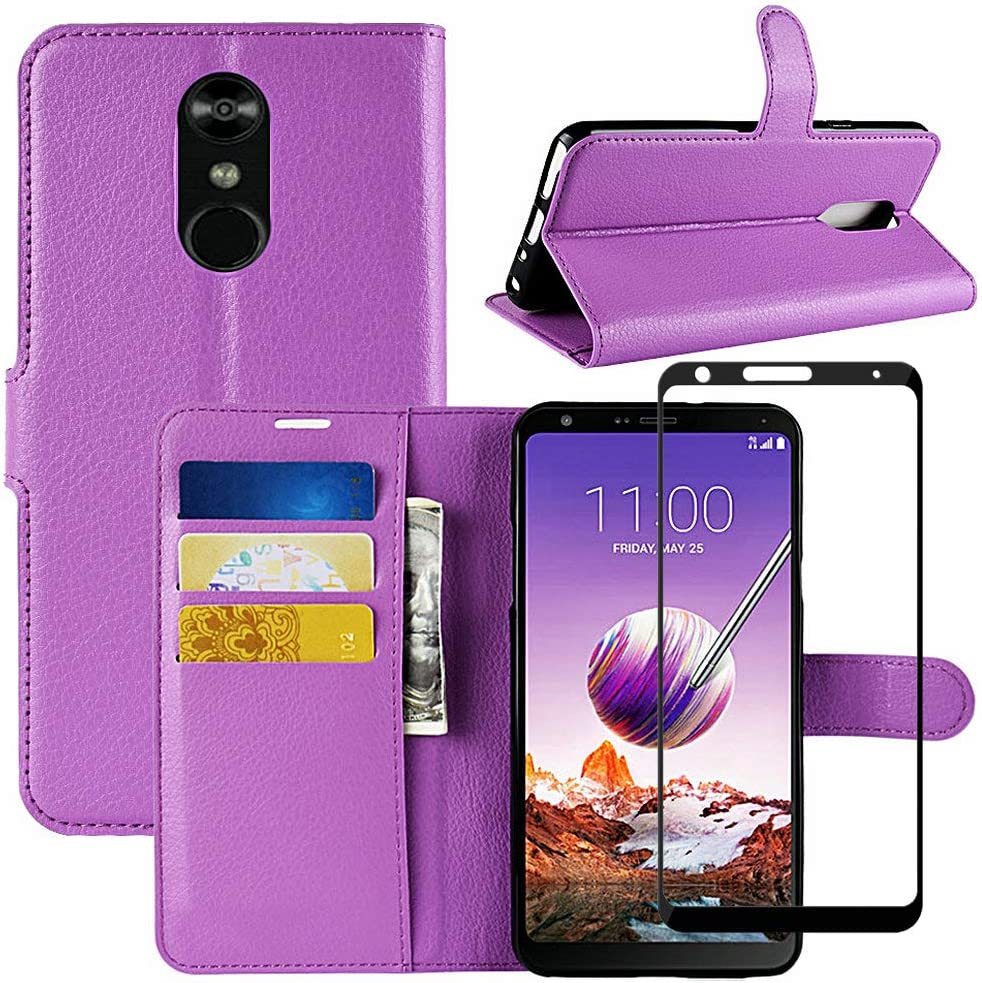 LuckQR Flip Phone Cover LG Stylo 4 Wallet Case with [Full Coverage] Tempered Glass Screen Protector, Folding Kickstand, ID Card & Cash Slot, Magnetic Clasp Closure Phone Case for LG Stylo 4 - Purple