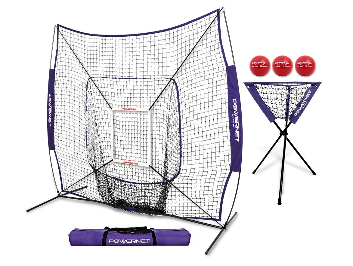 PowerNet DLX Combo 6 Piece Set for Baseball Softball (Purple) | 7x7 Practice Net Bundle w/Strike Zone, Ball Caddy + 3 Weighted Training Balls | Team or Solo Training | Hitting & Throwing