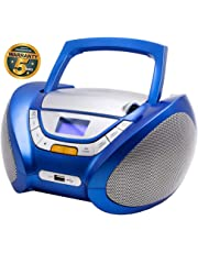 Lauson Lecteur CD | Radio Portable | USB | Radio Stéréo CD Lecteur MP3 pour Enfant | Chaîne stéréo | Prise Casque | Aux in - Écran LCD - Batterie et Alimentation électrique | CP446 (Bleu)
