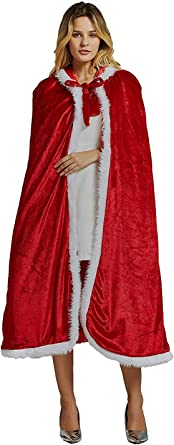 Mrs Santa Claus Costume,Santa Cape Xmas Costumes,Velvet Hooded Cloak Robe Christmas Women Girls Green
