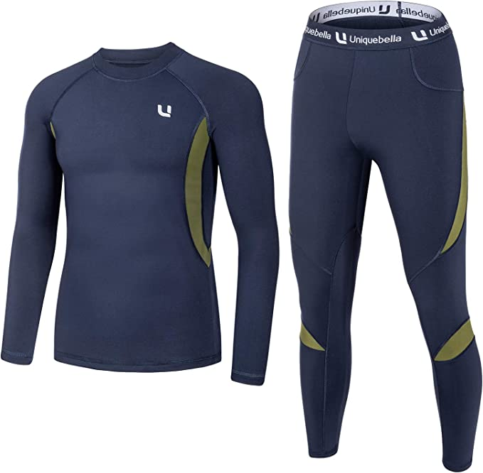 UNIQUEBELLA Men's Thermal Underwear Sets Top & Long Johns Fleece Sweat Quick Drying Thermo (Sets Blue, M)