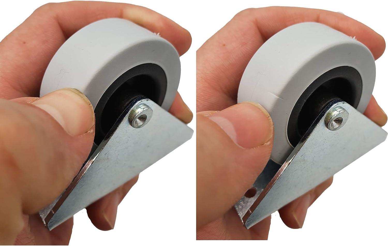 Paquete de 4 piezas Ruedas giratorias fijas grandes de 50 mm Ruedas resistentes Ruedas no giratorias Ruedas de goma para carrito de mesa de muebles 4