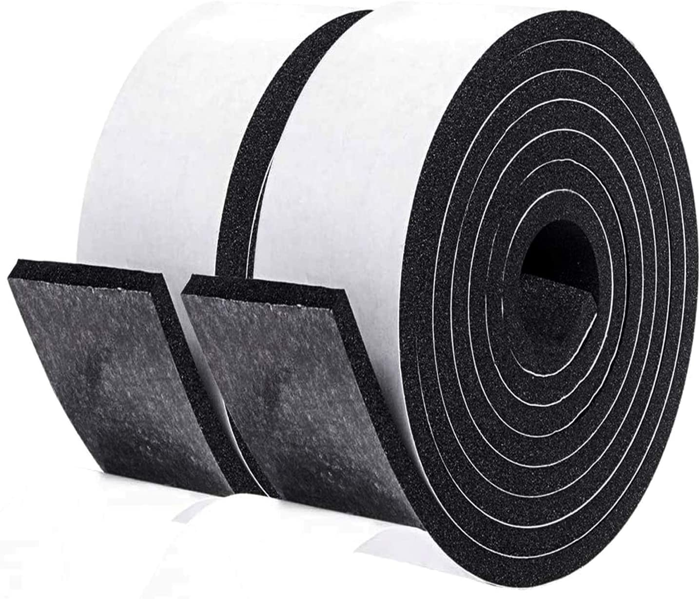fowong Foam Weather Stripping Tape, 2 Inch Wide X 1/4 Inch Thick Window Insulation Soundproofing Adhesive Foam Tape Foam Seal Strip Closed Cell Foam Tape (2 Rolls with Total 13 Feet Long)