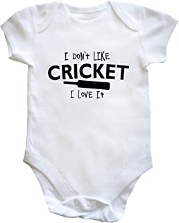 The Bees Tees I was born to play Cricket Babys Babygrow //sleepsuit White 0-3 months