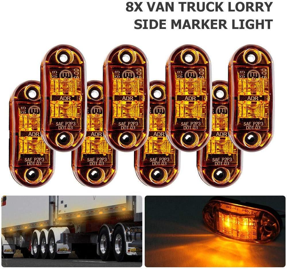 MASO Luces Laterales LED Luces de Marcador Lateral Indicador de posición Lámparas Laterales 12 V 24 V Universal para Remolque, Furgoneta, Caravana, camión, camión, camión o autobús de Coche