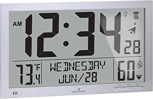 Marathon Slim Jumbo Auto-Set Atomic Full Calendar Digital Wall Clock