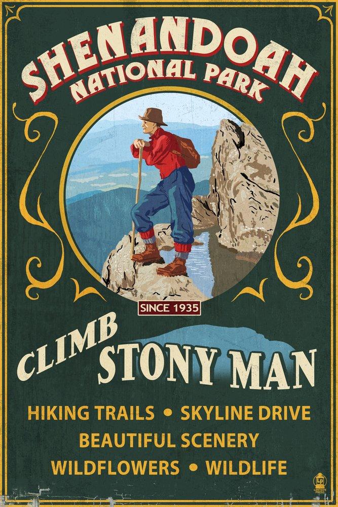 Shenandoah国立公園、バージニア州 – Climb Stony Man Vintage Sign 16 x 24 Signed Art Print LANT-42285-709 B07B2DNMFX 16 x 24 Signed Art Print16 x 24 Signed Art Print