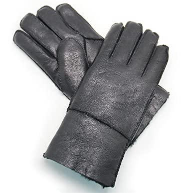 b161e51a9 YISEVEN Women's Rugged Sheepskin Shearling Leather Gloves Mittens Sherpa Fur  Cuff Thick Wool Lined and Heated