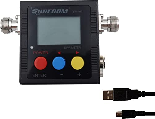 Gam3Gear Surecom SW-102S SO239 Connector Digital VHF UHF 125-525Mhz Power SWR Meter with Ground Plate