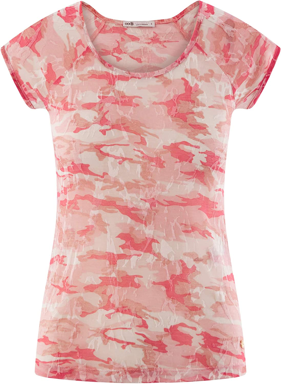 oodji Collection Donna T-Shirt Stampata con Maniche Raglan