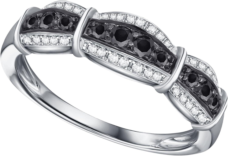 Prism Jewel 0.30Ct Round Black Diamond With Diamond Anniversary Ring
