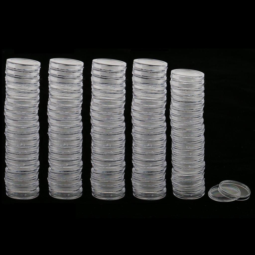 non-brand Sharplace 200 Pezzi//Pacco Contenitore Di Monete Tondo Trasparente Portamonete Capsule Portamonete Per Collettore Di Monete 22 X 2,3 Mm