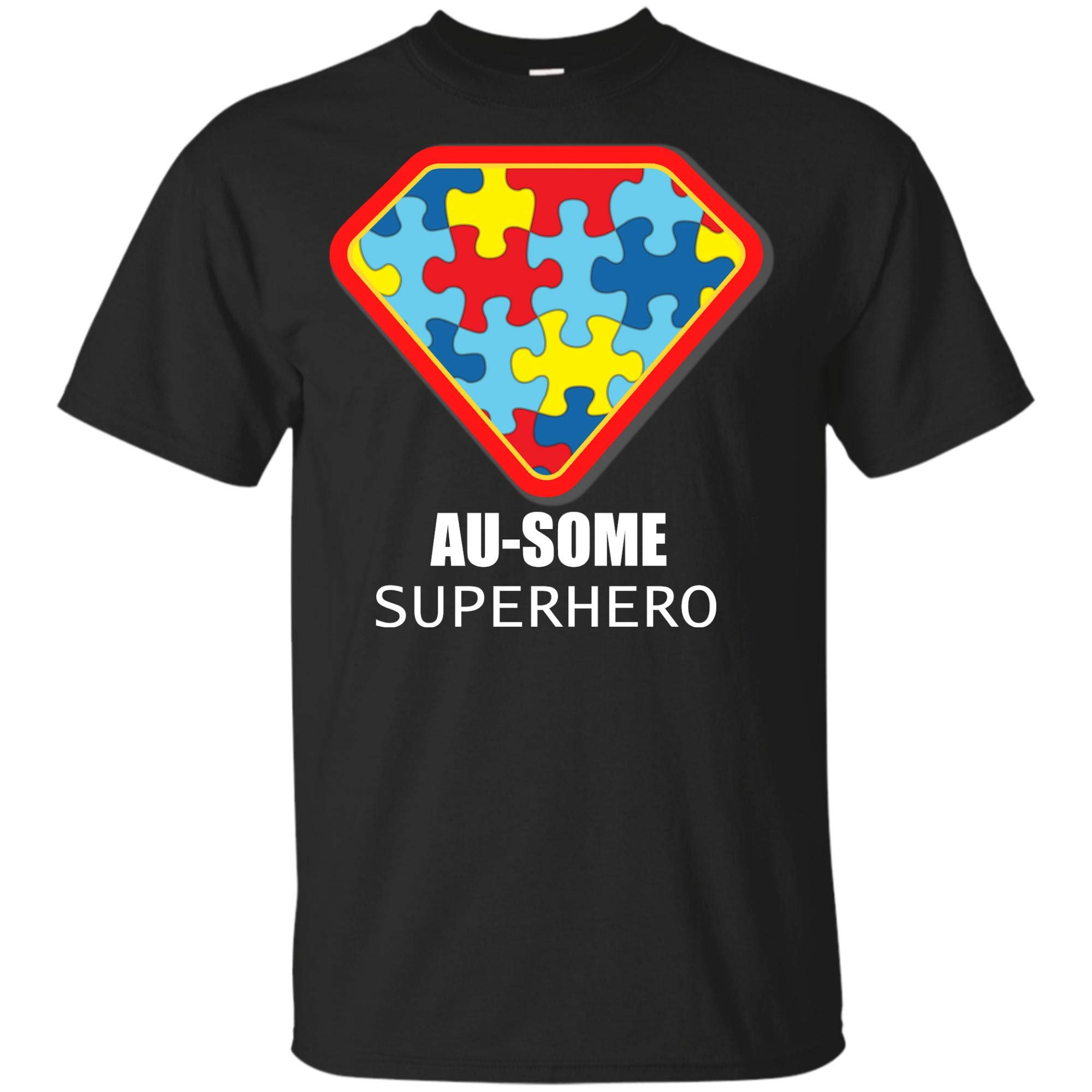 Ausome Superhero Autism Awareness T Shirt Puzzle Piece Support Dad Mom Gift