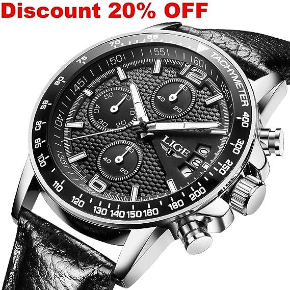 Hombre Relojes Cuarzo Analógico Hombres Marca de Lujo LIGE Cronógrafo  Militar reloj de pulsera Moderno Impermeable Hombre Reloj Cuero Negro   Amazon.es  ... 1e529c3538f9