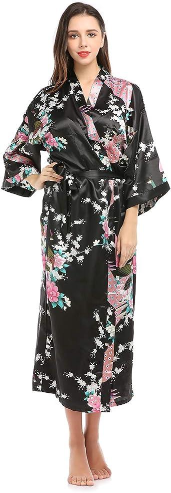 Details about  /Lavenderi Women/'s Long Classic Satin Kimono Lounge Bathrobe Robe
