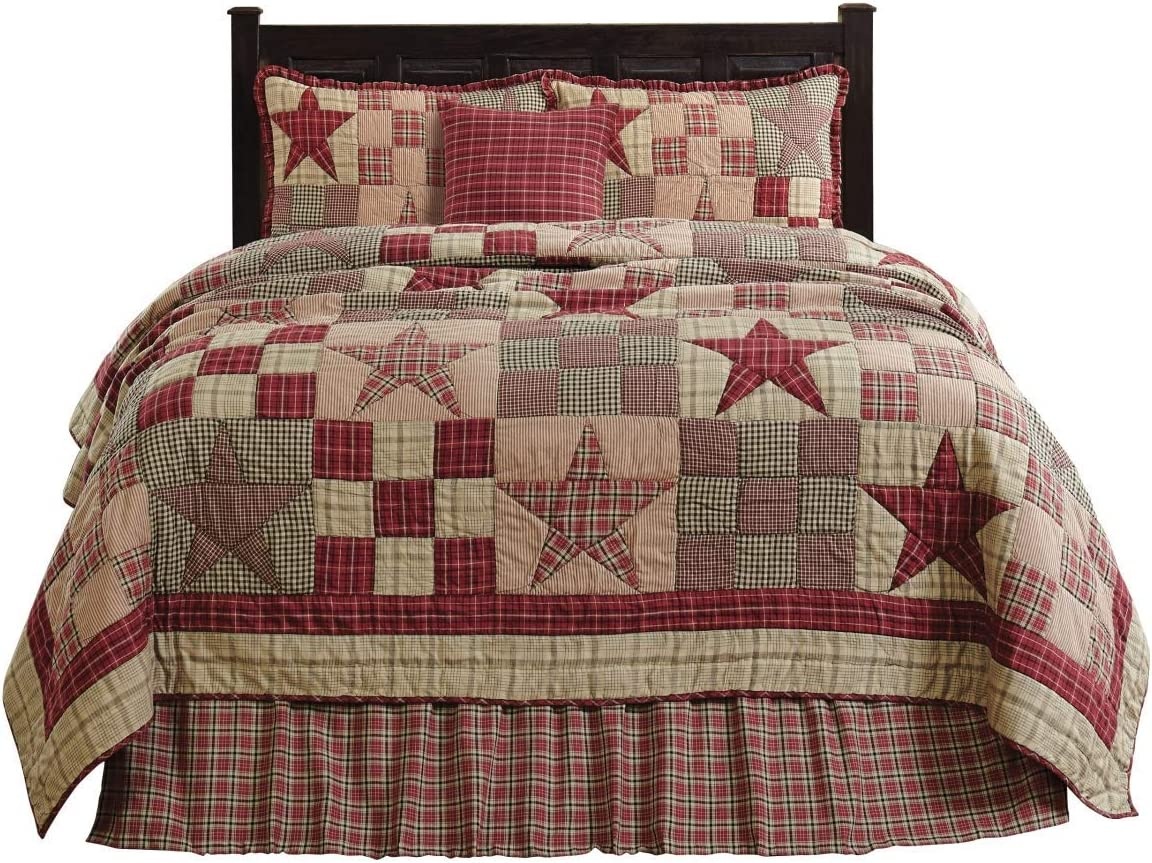 The BitLoom Co. Primitive Country, Star Patch Red King 5 Piece Quilt Set