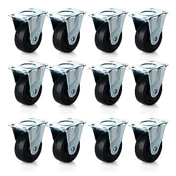 Ruedas de ruedas de goma, 2 pulgadas resistente al agua con ruedas para muebles carro