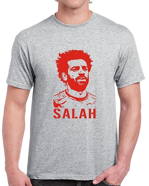 6a9cd87999a Mohamed Salah Liverpool Egyptian Silhouette Soccer Star T Shirt S Sport Grey
