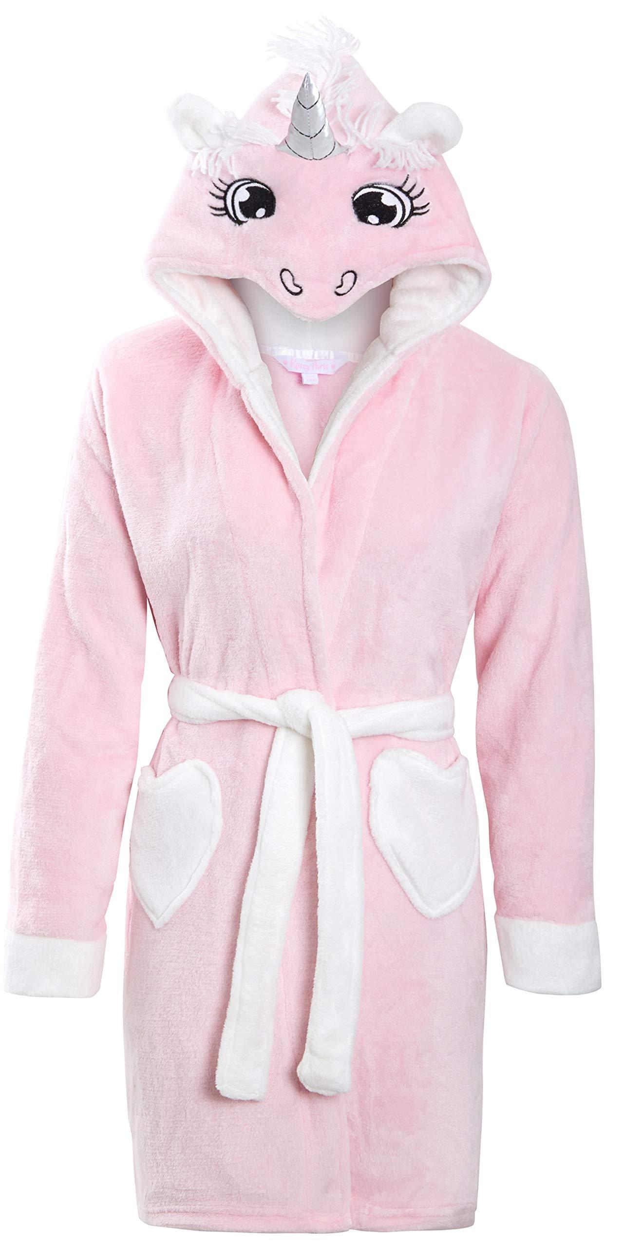 Metzuyan Girls Plush Fleece Hooded Unicorn Robe Tail