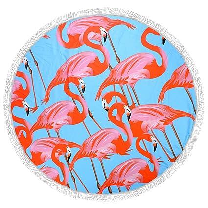 Arce & Home personalizada fondo azul patrón de flamenco – Toalla de playa redonda mantel tapiz