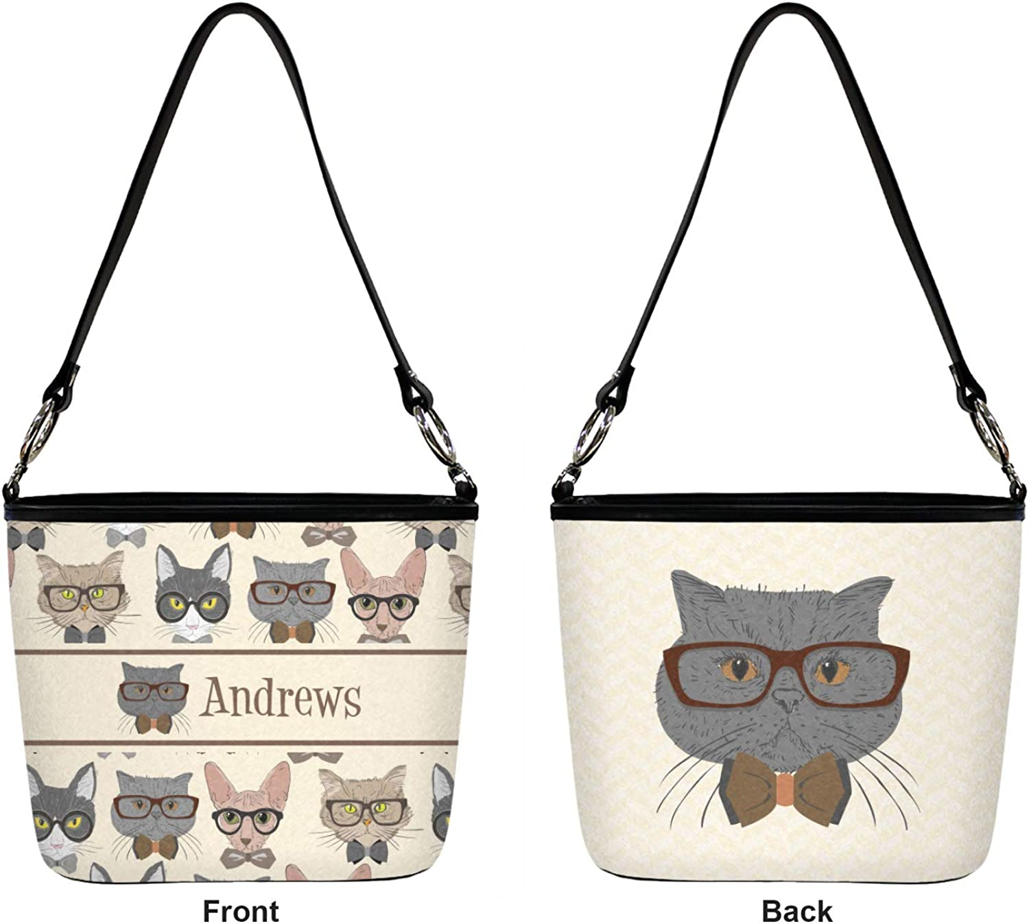 Front /& Back Personalized Hipster Cats Bucket Bag w//Genuine Leather Trim Regular