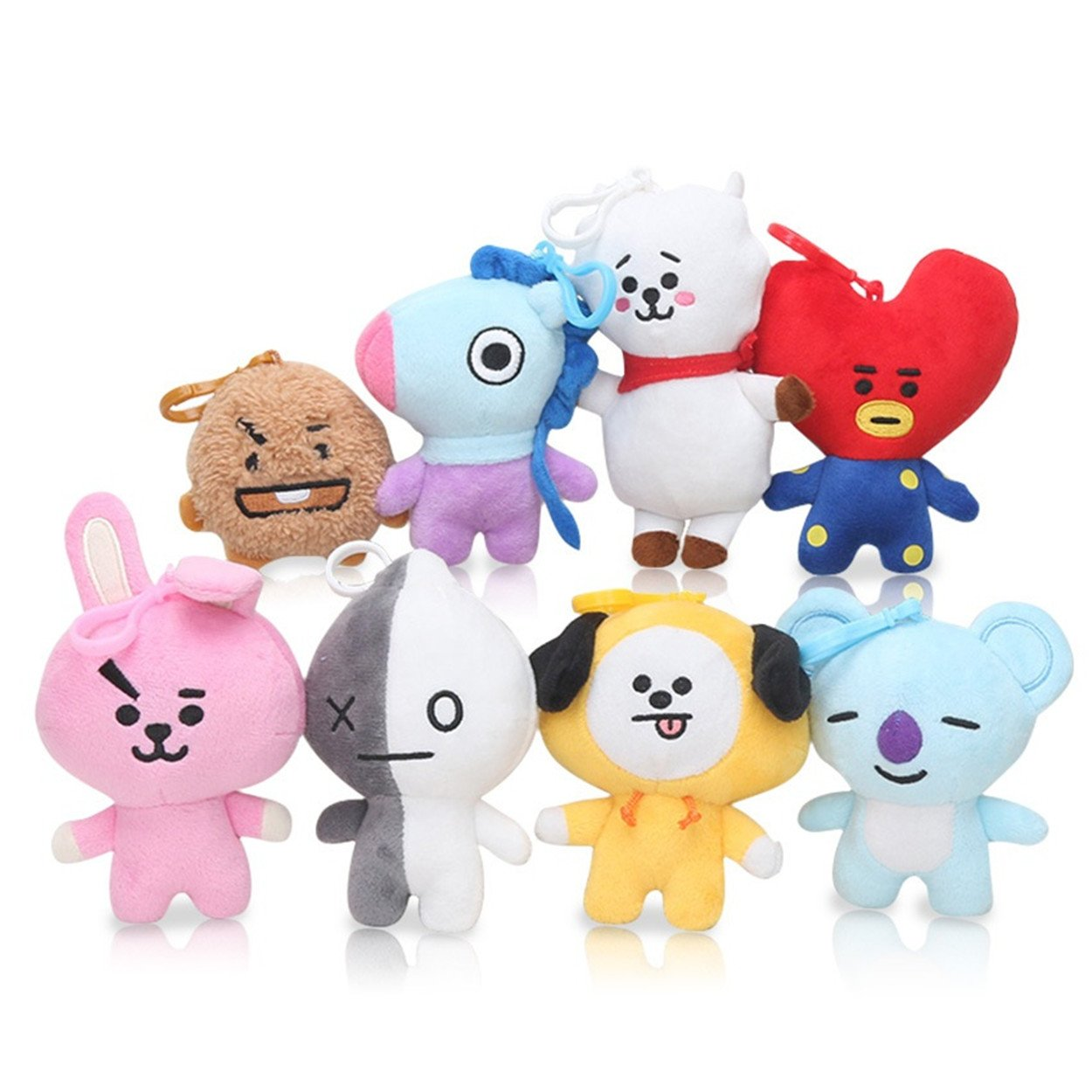 AUGYUESS 8Pcs KPOP Bangtan Boys BTS BT21 Keychain Key Ring Pendant Plush Doll Hot Gift for A.R.M.Y
