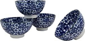Ebros Gift Made in Japan Ming Style Blue And White Summer Floral Blossom Design 12oz Rice Soup Cereal Porcelain Bowls Set of 4 Home Decor Zen Asian Fusion Accent Housewarming Birthday Gifts Bowl Set